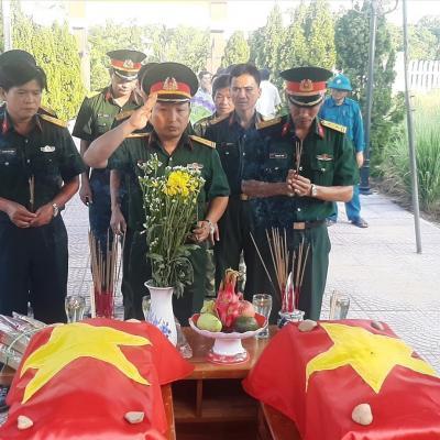 Xã Đại Thạnh tổ chức truy điệu và cải táng 2 hài cốt liệt sĩ